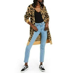 BP Long Leopard Jacquard Cardigan